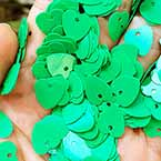 Sequins, green, 10mm x 10mm, 200 pieces, 5g, Heart shape, Sequins are NOT shiny