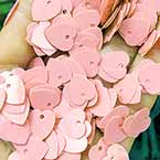 Sequins, pink, 10mm x 10mm, 200 pieces, 5g, Heart shape, Sequins are NOT shiny