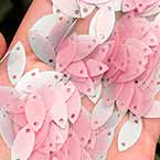 Sequins, pink, 5mm x 7mm, 200 pieces (approximate), 3g, Sequins are NOT shiny