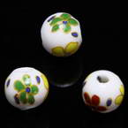 Round porcelain beads - Flower pattern