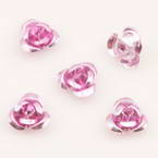 Metallic flowers, Aluminium, Light pink, 10mm x 10mm x 5mm, 20 pieces