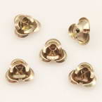 Metallic flowers, Aluminium, Light brown, 10mm x 10mm x 5mm, 20 pieces