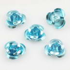 Metallic flowers, Aluminium, Light blue, 10mm x 10mm x 5mm, 20 pieces