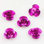 Metallic flowers, Aluminium, Magenta, 10mm x 10mm x 5mm, 20 pieces