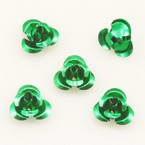 Metallic flowers, Aluminium, Dark green, 10mm x 10mm x 5mm, 20 pieces