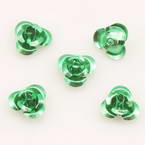 Metallic flowers, Aluminium, green, 10mm x 10mm x 5mm, 20 pieces