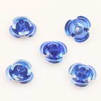 Metallic flowers, Aluminium, blue, 12mm x 12mm x 7mm, 10 pieces