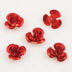 Metallic flowers, Aluminium, red, 12mm x 12mm x 7mm, 10 pieces