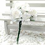 Rose, Paper, white, 1.5cm, 12 flowers