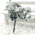 Rose, Paper, Silver colour, 1.5cm, 12 flowers