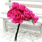 Rose, Paper, Dark red, 1.5cm, 12 flowers
