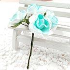 Rose, Paper, white, 3cm, 6 flowers