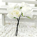 Rose, Paper, white, 2.5-3cm, 6 flowers