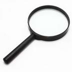 Magnifying glass, Glass and Plastic, 1 Magnifying glass, 16cm x 8.4cm x 1.4cm, 5
