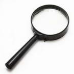 Magnifying glass, Glass and Plastic, 1 Magnifying glass, 11.2cm x 5.2cm x 1.3cm, 5