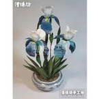 Paper flower making kit, white, blue, Imperial Iris Telstar, 3 flowers