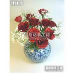 Paper flower making kit, Pinkish red, Rose Kardinal, 10 flowers