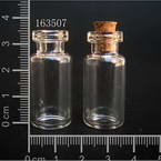 Glass bottles, Colourless, 1.6cm x 1.6cm x 3.5cm, 2ml, 2 pieces