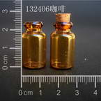 Glass bottles, brown, 1.3cm x 1.3cm x 2.4cm, 1ml, 2 pieces
