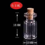 Glass bottles, Colourless, 1cm x 1cm x 1.8cm, 0.5ml, 4 pieces