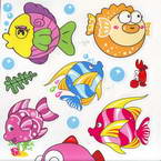 Bathroom and Window stickers, Plastic, Assorted colours, 56cm x 21cm, 1 sheet