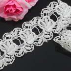 Cotton Pattern trimmings, white, 3.5cm x 1m, 1 piece