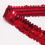 Elastic Sequin trimmings, Polyester and Sequins, Burgandy, 1m x 3cm