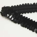 Elastic Sequin trimmings, Polyester and Sequins, black, 1m x 3cm