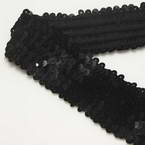Elastic Sequin trimmings, Polyester and Sequins, black, 1m x 4.5cm