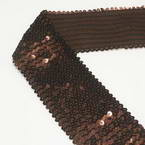 Elastic Sequin trimmings, Polyester and Sequins, brown, 1m x 8cm