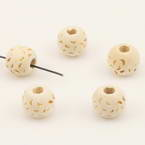 Bead, Wood, Natural colours, Round shape, 10mm x 8mm, 10 Beads