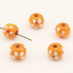 Bead, Wood, orange, white, Spherical, Diameter 10mm, 10 Beads