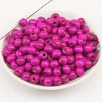 Beads, Wood, Magenta, Round shape, Diameter 8mm, 15g, 100 Beads