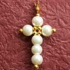 Pearl cross earrings