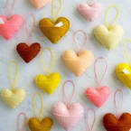 Fabric hanging hearts