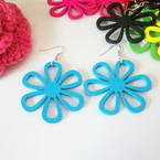 Flower shape wooden earrings
