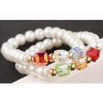 Glass imitation pearl bracelets