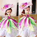 Rainbow small doll, nylon flowers