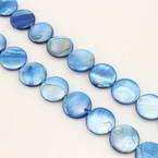 Beads, Shell, blue, Disc shape, Diameter 15mm, 26 Beads