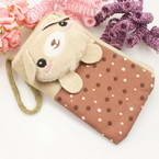Bag for holding mobile phone., Cloth, Light brown, grey, 13.5cm x 8cm, 1 piece