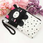 Bag for holding mobile phone., Cloth, black, white, 12.5cm x 7.5cm, 1 piece