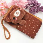 Bag for holding mobile phone., Cloth, brown, 13.5cm x 8cm, 1 piece