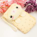 Bag for holding mobile phone., Cloth, Cream colour, Light Yellow, 12.5cm x 7cm, 1 piece