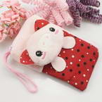 Bag for holding mobile phone., Cloth, pink, white, 14cm x 8cm, 1 piece