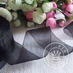 Organza ribbon, black, 4cm x 2m, 1 piece