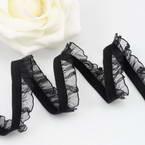 Ribbon, Polyester, black, 1m x 1.4cm