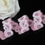 Ribbon, Polyester, pink, white, 1m x 1.8cm