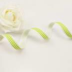Ribbon, Polyester, Green-Yellow, white, 1m x 1.5cm