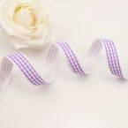 Ribbon, Polyester, Light purple, white, 1m x 1.5cm