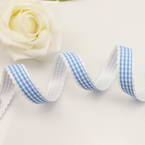 Ribbon, Polyester, blue, white, 1m x 1.5cm